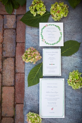 wedding invitation suite green border pink rose flower laurel wreath