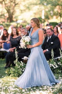 maid of honor in prada couture dress light blue pleated bridesmaid dress