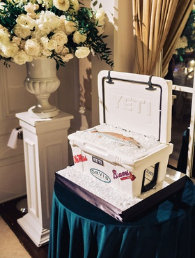wedding cake ideas groom cake yeti cooler with fish and ice