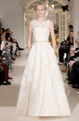 Oleg Cassini Fall 2018 bridal collection spring 2019 wedding dress lace applique pockets illusion