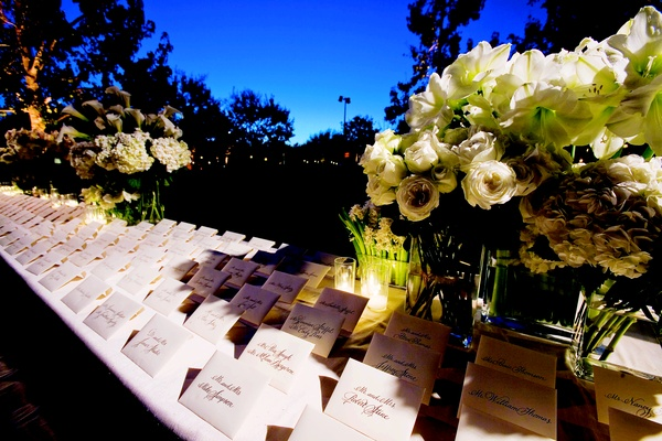 Simple white seating cards in envelopes