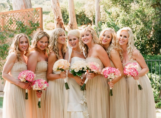 Ribbon-trimmed veil and champagne dresses