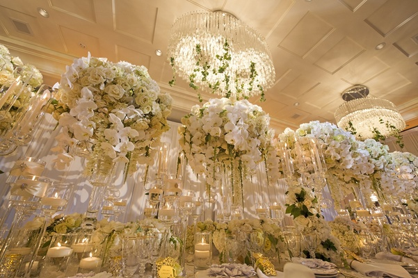 large modern crystal chandeliers with ivy, wedding styled shoot orchids