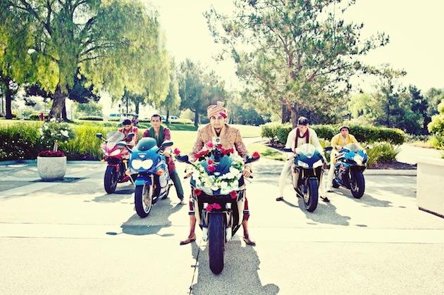Indian groom with groomsmen on motorcycles