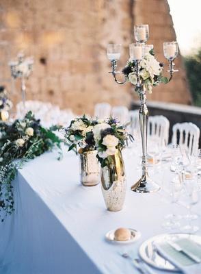 outdoor destination wedding silver candelabra mercury glass vase thistle white rose dahlia flowers