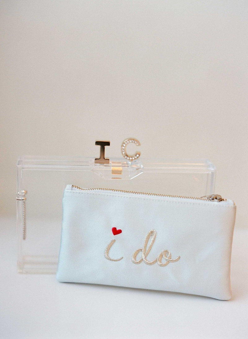 """Wedding day accessories white """"I do"""" clutch embroidery with initial closure Lucite acrylic clutch"""