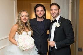 jon snow game of thrones kit harington with bride in reem acra groom in lanvin emmy weekend