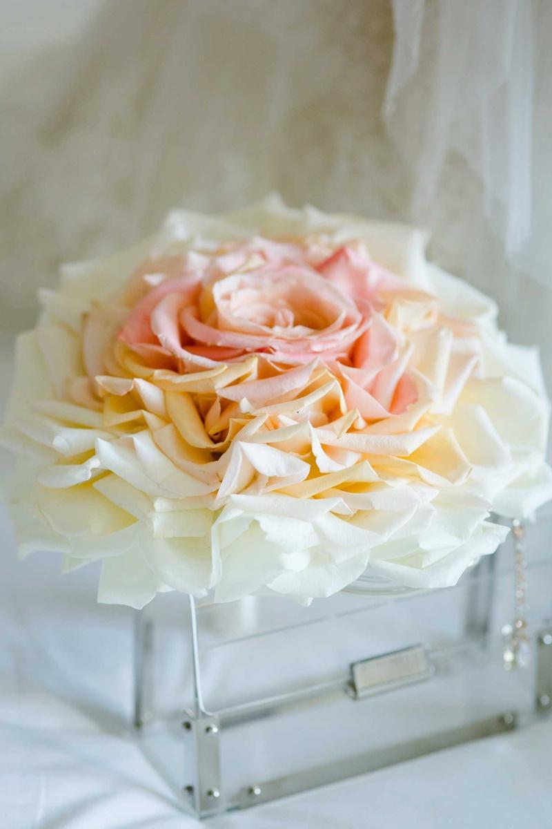 white pink peach orange rose petal bouquet composite bouquet glamelia style