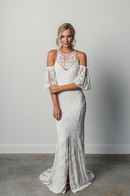 Fernandez by Grace Loves Lace Elixir cold shoulder lace wedding dress chevron design