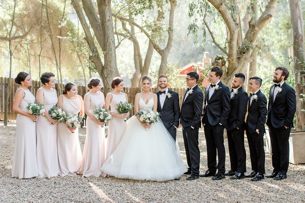 bride in lazaro ball gown, bridesmaids in pale pink dessy group dresses, bridal party gaze