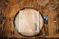 Wedding reception gold linen tablecloth pattern place setting with blush swirl menu card