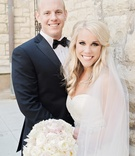 blond bride hair half-up, loose waves, vera wang, cathedral veil, groom in vera wang tux