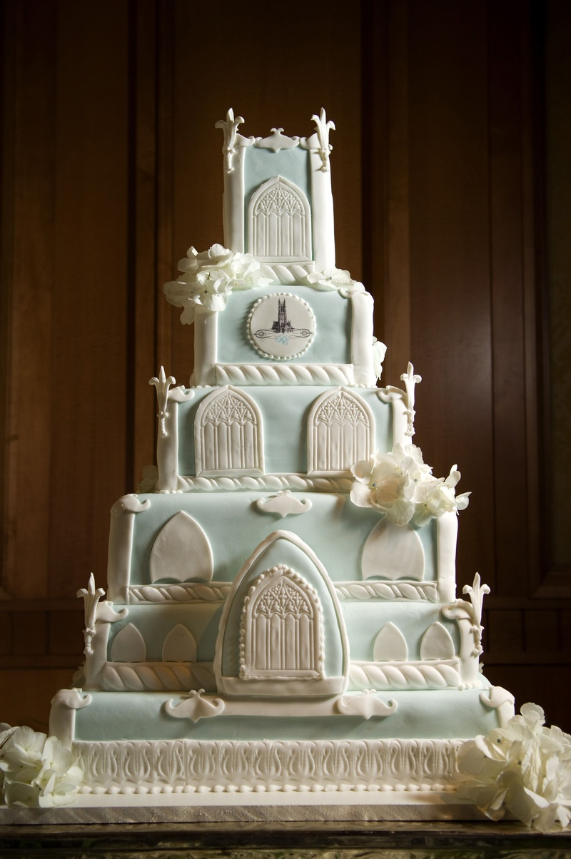 Blue And White Cake Shaped Like Duke University Chapel