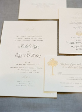 Wedding invitation sophisticated calligraphy with gold palm tree motif design for palm beach wedding