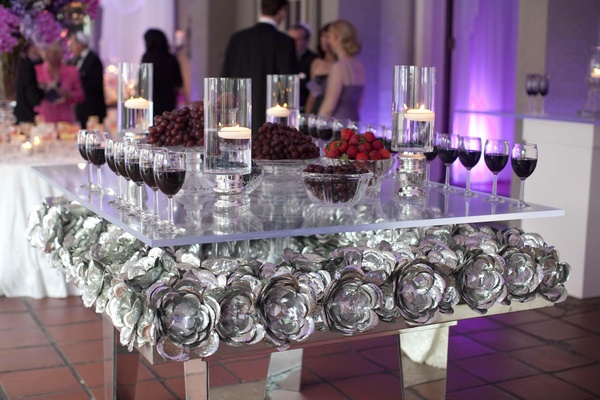 Traditional purple hued wedding in connecticut inside for Glass tables for wedding reception