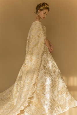 Francesca Miranda Fall 2018 Silk strapless A-Line gown, gold jacquard, crystals, cathedral cape