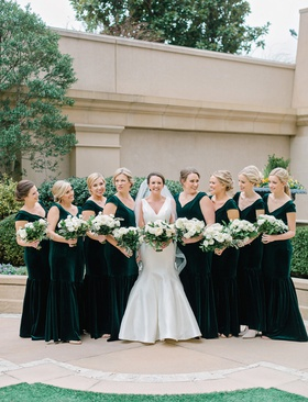bridesmaids in cap sleeve v neck velvet trumpet mermaid bridesmaid dresses bride in sareh nouri