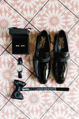 Salvatore Ferragamo wedding shoes patent leather bow tie tom ford watch and cuff links cufflinks
