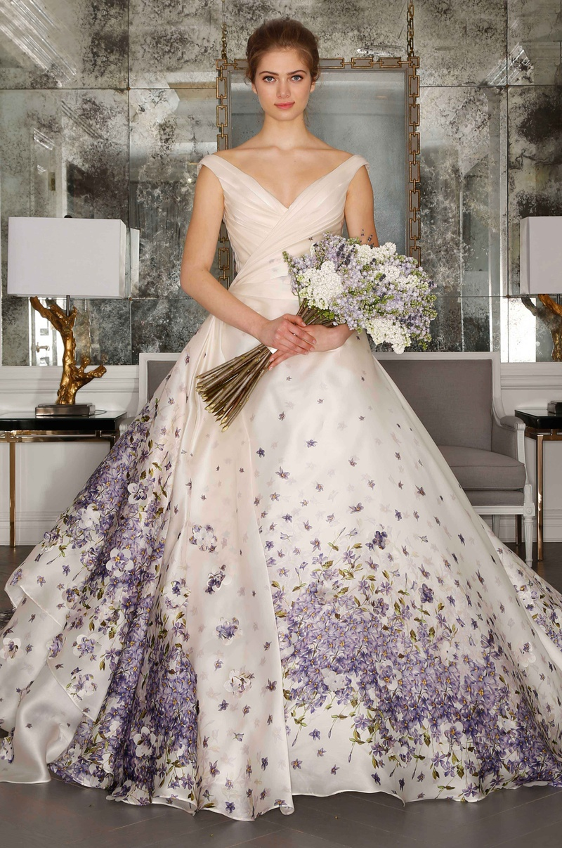 Wedding Dresses Photos - Purple Floral Print Gown by Romona Keveza ...