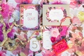 pink floral table linen white and pink wedding menu coco chanel inspired gold branch chanel purse