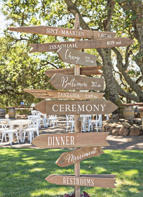 Wood directional arrow sign ceremony and reception with white lettering special places to couple
