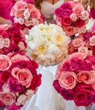 white bridal bouquet with peonies and garden roses, bridesmaid bouquets traditional roses in pink