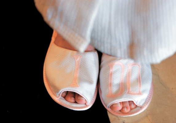 White and pink getting ready slippers with I Do embroidery