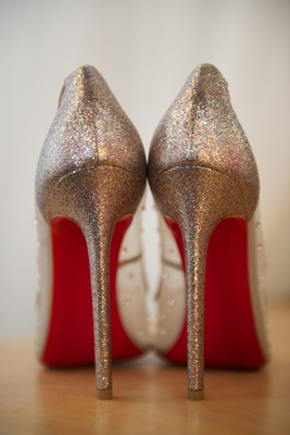 Bridal Christian Louboutin heels with red sole and sparkles