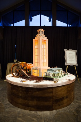 elaborate groom's cake replica of university of texas