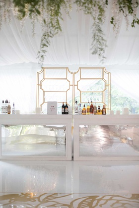 wedding reception tented wedding gold shelving bar mirror panel alcohol