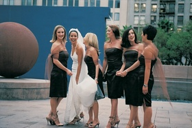 Dark colored dress with shawl for bridesmaids