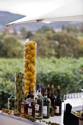 bar decorated with cylinders filled with lemons and limes