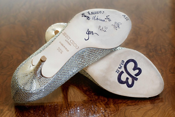 Bridesmaids signatures on Jimmy Choo heels