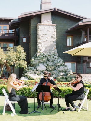 wedding ceremony outdoor at the lodge at torrey pines live musicians string instruments