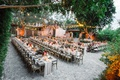 bistro lights draped between trees, long king's table with vineyard chairs, fall wedding