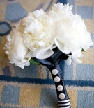 Bridesmaid bouquet with white peonies and crystal pins