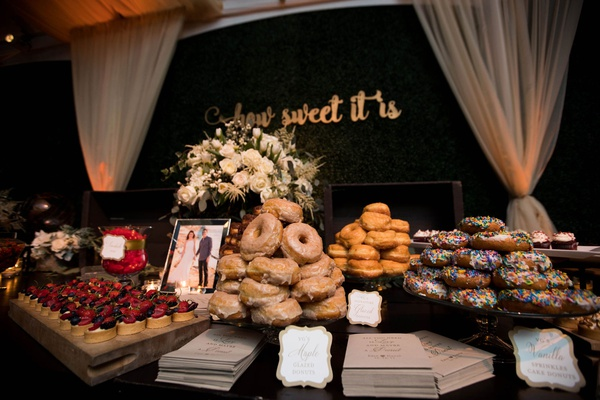 wedding reception dessert table how sweet it is calligraphy sign donut tart and sweets table to go