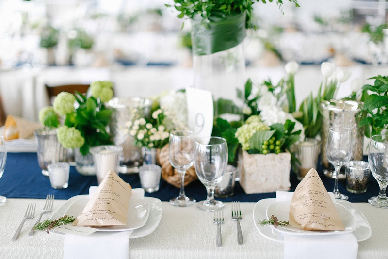 Ordinaire Nautical Theme Wedding With Blue Table Runner, Kraft Paper Menus, And Green  Centerpieces