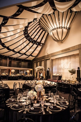 skirball cultural center wedding reception with black and white decor