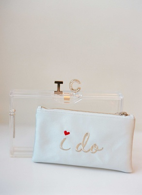 "Wedding day accessories white ""I do"" clutch embroidery with initial closure Lucite acrylic clutch"