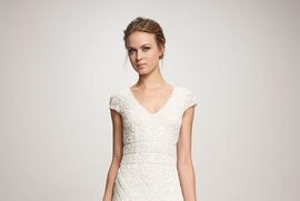 Theia spring 2018 bridal collection Lilia ivory cap sleeve v neck wedding dress