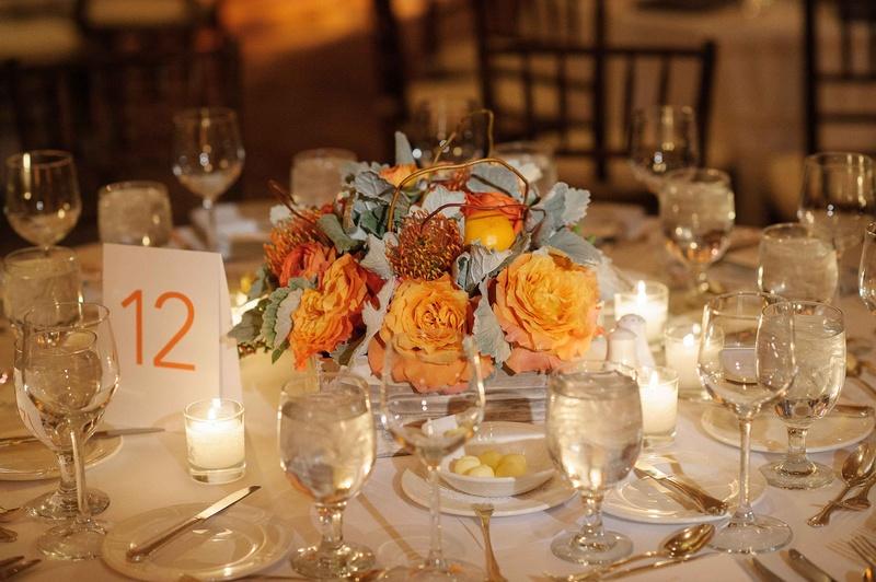 Reception Décor Photos - Tangerine Floral & Fruit Centerpiece ...