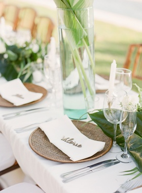 Wedding reception in Mexico destination wedding rattan charger plate with laser cut wood place card