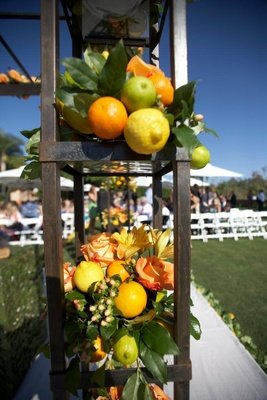 Wrought iron wedding structure with lemon and lime