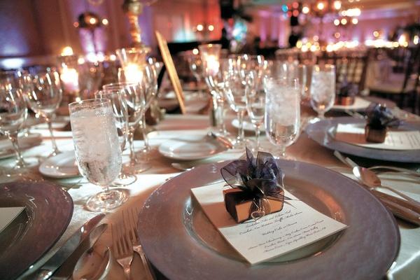 Purple ballroom reception table decorations
