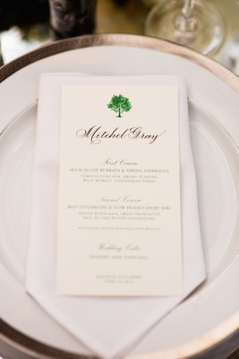 Wedding menu idea with green print and tree design