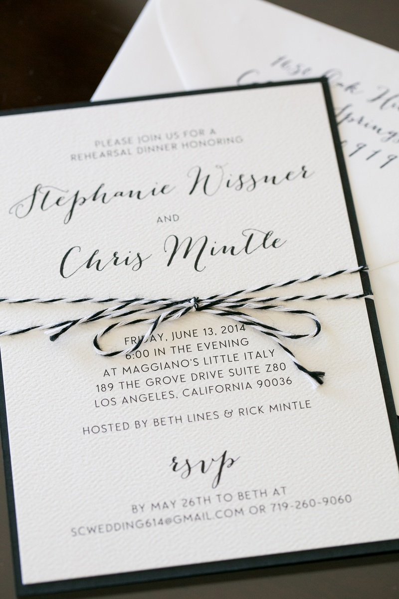 Rehearsal dinner invite with black and white string