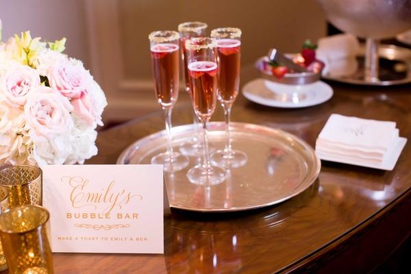 champagne bar special signature drinks serving platter women's bathroom dallas texas wedding