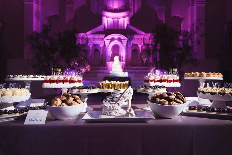 Vibiana wedding reception purple lighting shoe dessert dessert sweets bar candy bar alternative