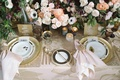 luxe linens blush hibiscus, blush napkins gold charger ranunculus anemone